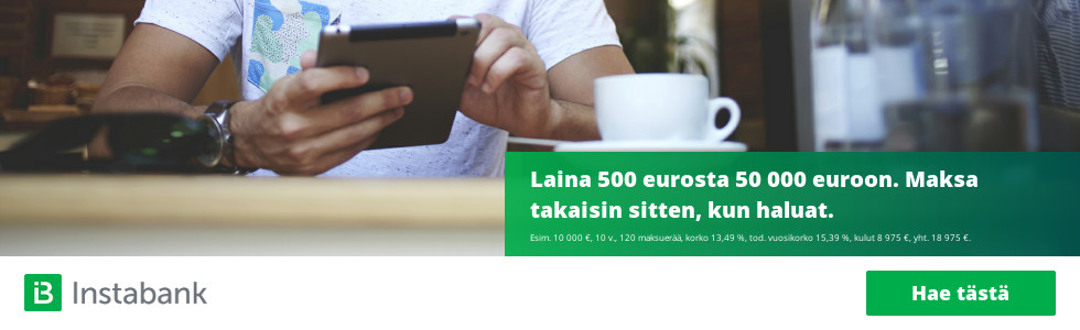Instabank kulutusluottoa 500 - 50 000 euroa